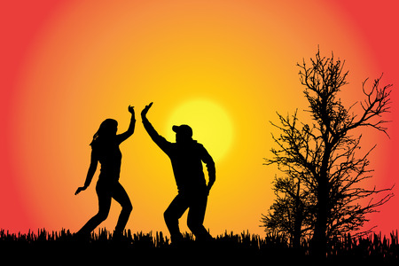 DAnce background: Vector silhouette of a couple in the countryside at sunset.