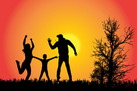 woman walk: Vector silhouette of a family in the countryside at sunset.