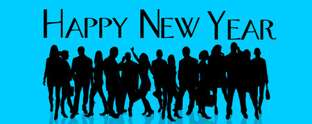 crowd happy people: Vector silhouette of people who celebrate the new year.
