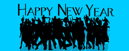 young group: Vector silhouette of people who celebrate the new year.