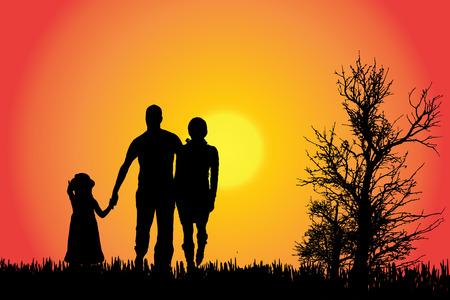Vector silhouet van een familie op het platteland bij zonsondergang.