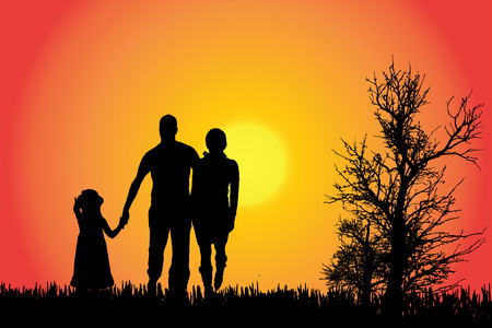 Vector silhouette di una famiglia in campagna al tramonto.