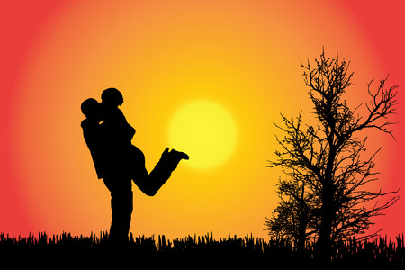 love kiss: Vector silhouette of a couple in the countryside at sunset.