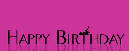 naked girl: Vector illustration with the words happy birthday.