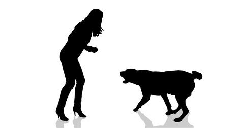 Vector silhouette di una donna con un cane.
