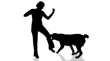 biting: Vector silhouette of a woman with a dog.