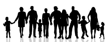 silueta hombre: Vector siluetas de diferentes personas sobre un fondo blanco.