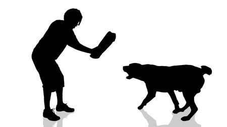 dangerous man: Vector silhouette of a man with a dog.