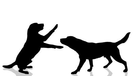 chiens Vector silhouette sur un fond blanc. Vecteurs