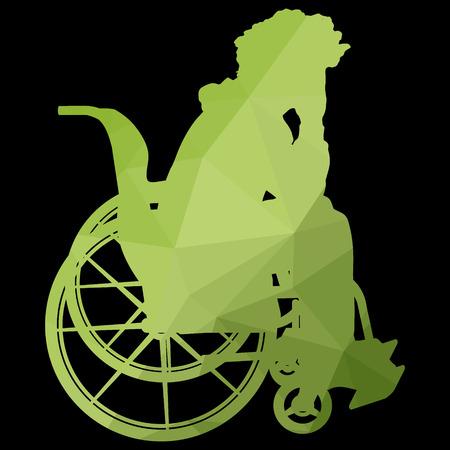 paraplegico: poli baja silueta del hombre en una silla de ruedas