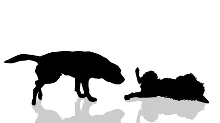 sniff: Vector dogs silhouette on a white background. Illustration