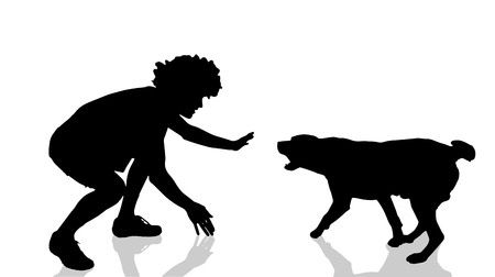 dog bite: Vector silhouette of a man with a dog.