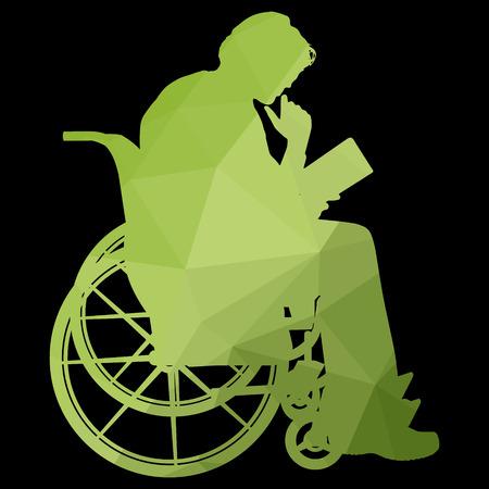 paraplegic: poli baja silueta del hombre en una silla de ruedas