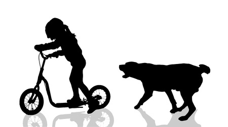 dangerous woman: Vector silhouette of a child with a dog.