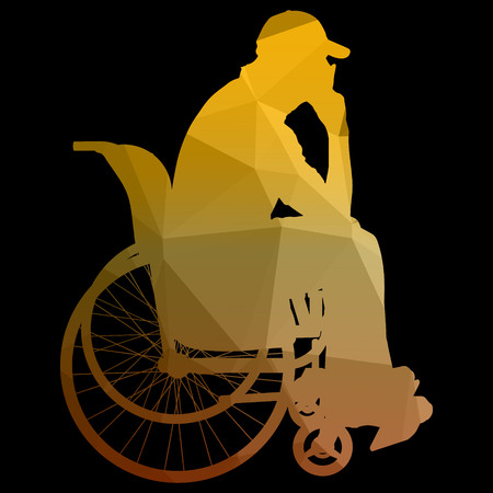 medicine wheel: low poly silhouette of man on a wheelchair