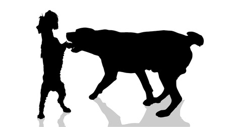 game dog: Vector dogs silhouette on a white background. Illustration