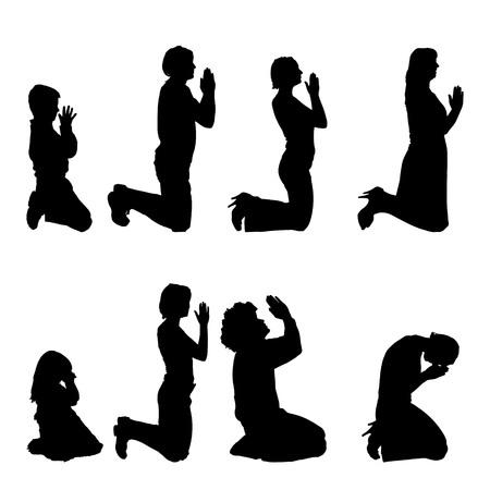 Vector siluetas de diferentes personas que están orando. Ilustración de vector