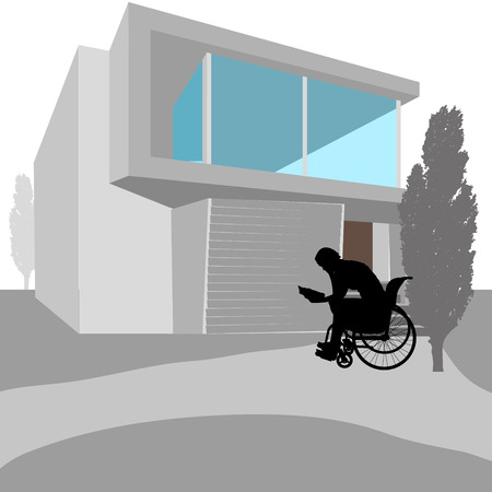 disabled person: vector illustration real estate  with disabled person Illustration