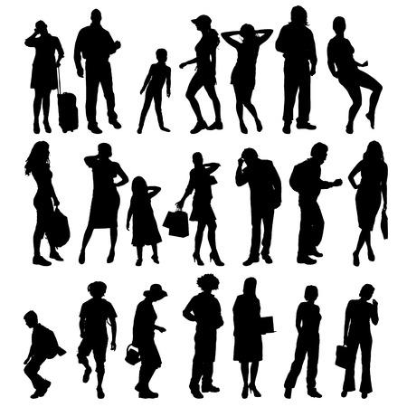 femme valise: Vector silhouettes de personnes différentes sur un fond blanc.