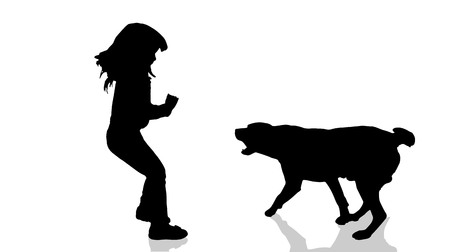 dog bite: Vector silhouette of a child with a dog.