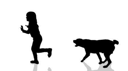 fear child: Vector silhouette of a child with a dog.