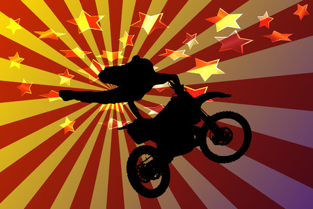 fmx: Vector silhouette motocross rider on stars background