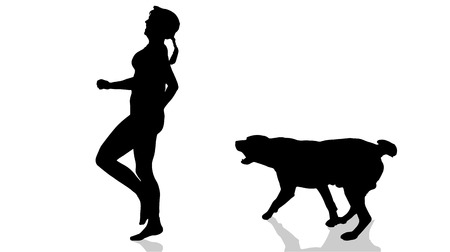 dog bite: Vector silhouette of a woman with a dog.