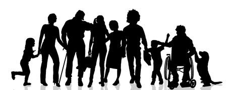 Vector silhouetten van verschillende mensen op een witte achtergrond.