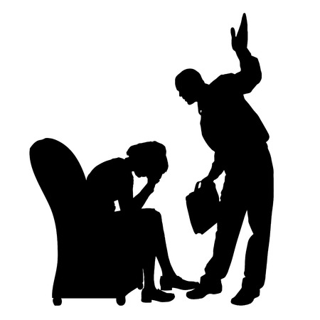 husband and wife: Vector silhouette of people who were arguing. Illustration