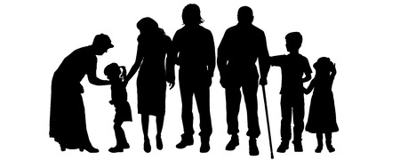 son of man: Vector silhouettes of family on a white background. Illustration