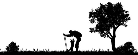 black people: Vector illustration of a woman with a dog in the countryside.