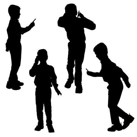 boy at phone: Vector silhouette of a boy with a mobile phone. Illustration
