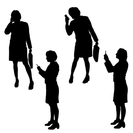 using smart phone: Vector silhouette of a woman with a mobile phone.