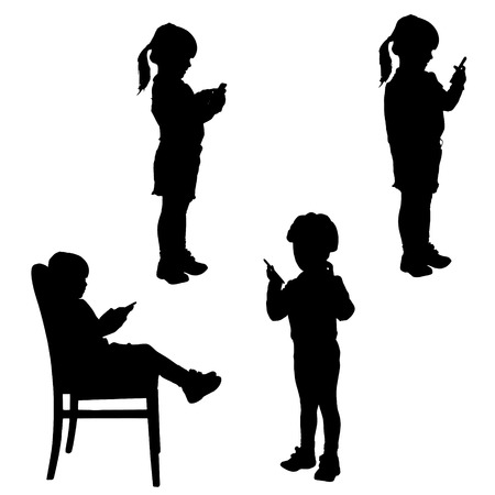 woman cellphone: Vector silhouette of a girl with a mobile phone.