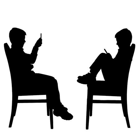 child sitting: Vector silhouette of a boy with a mobile phone. Illustration