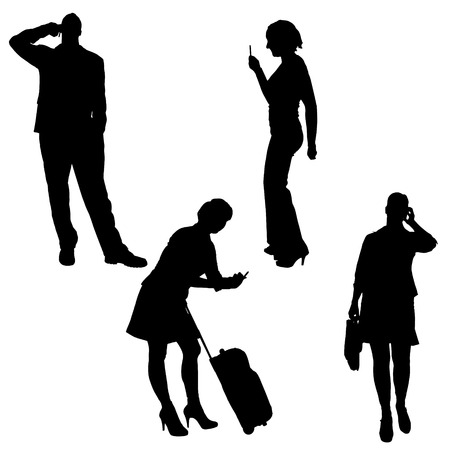 smart woman: Vector silhouette of a people with a mobile phone. Illustration