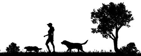 perro labrador: ilustración vectorial de una mujer con un perro en el campo. Vectores