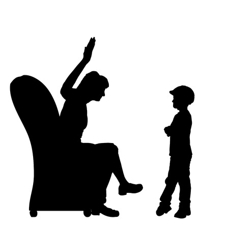 silhouettes of children: Vector silhouette of family who were arguing.