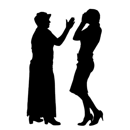 argument: Vector silhouette of people who were arguing. Illustration