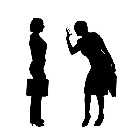 colleagues: Vector silhouette of people who were arguing. Illustration