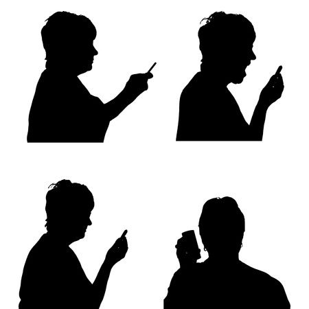 woman cellphone: Vector silhouette of a woman with a mobile phone.