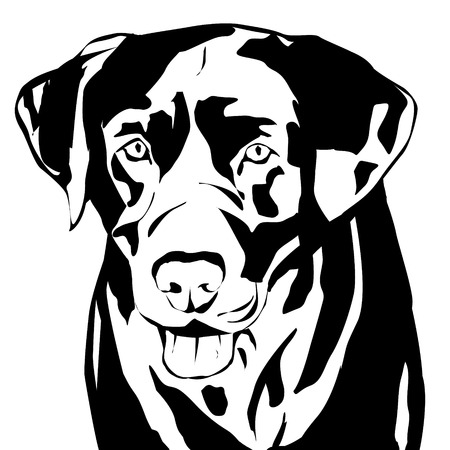 animal heads: Vector silhouette of a dog on a white background.