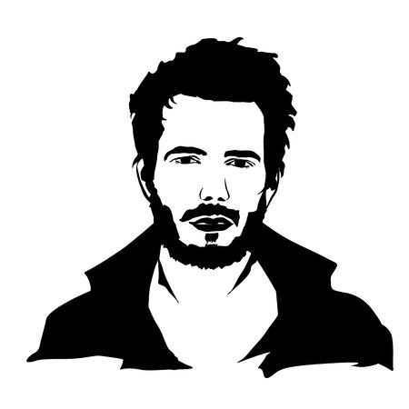 Vector silhouette de l'homme visage sur fond blanc.