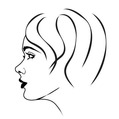 Vector illustration du visage d'une femme sur fond blanc. Vecteurs