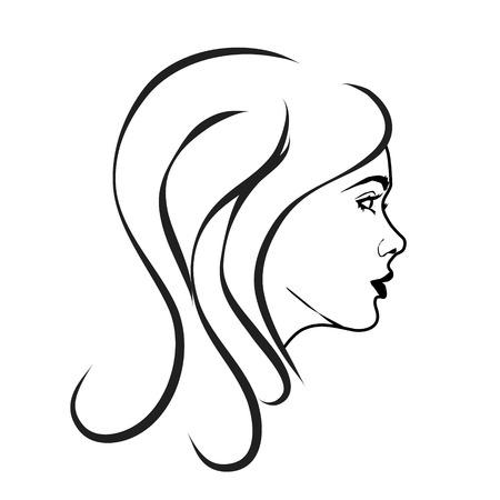 Vector illustratie van het gezicht van een vrouw op een witte achtergrond.