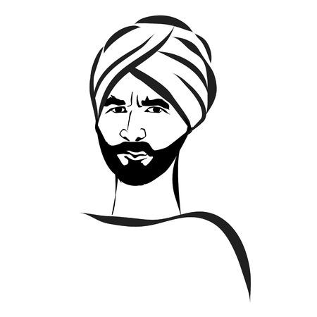 arab adult: Vector illustration Arab man in a turban. Illustration