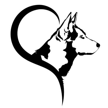 Ilustración del vector del logotipo del perro en un fondo blanco.