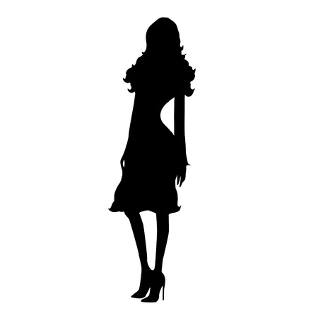 animated women: Vector silhouette of woman on white background.