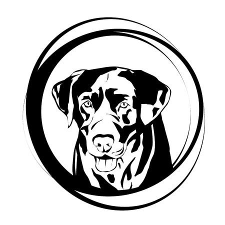 Vector illustration of dog logo on a white background. Logo