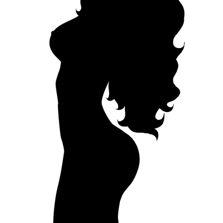 nude black woman: Vector silhouette of woman on white background.